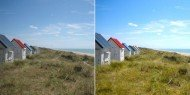 Beach huts before and after